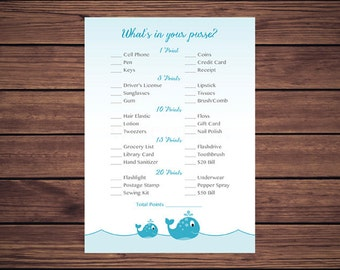 What's in Your Purse Game, Whats in Your Purse Baby Shower Game, Blue Whales Instant Download PDF Printable