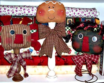 Primitive Decor Sewing Pattern, Primitive Instant e Pattern, Prim Sewing Pattern, Primitive Decor Pattern, Three Heads R Better Than One
