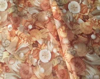 Shell Fabric Beach Ocean Beautiful and Warm Designer Cotton by Moda Fabric-100% High Quality Cotton By the HALF Yard-Yardage also available
