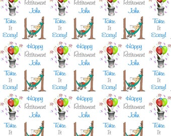 Personalised Wrapping Paper Retirement Gift Wrap with Own Name and Message