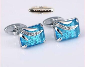 personalized cufflinks.blue cufflink.turquoise cufflink.groomsmen cufflinks.blue cufflinks.crystal cufflinks.Monogram Cufflinks