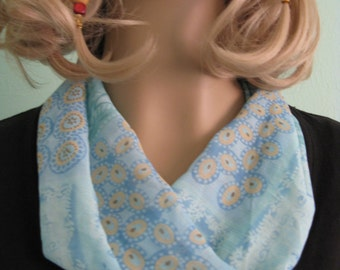 Pale Blue Chiffon Loop Infinity Circle Scarf