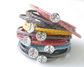 leather wrap bracelet, double happiness bracelet, arm candy, leather bracelet, Chinese character bracelet