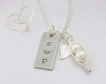 Peas in a Pod & Initials Necklace Hand Stamped Personalised Family Gift UK Seller