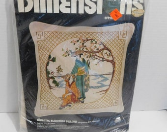 Oriental BLossoms Pillow Crewel Embroidery Kit Dimensions 1978