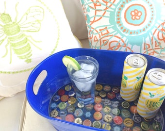 ice bucket, decorative serving tray, bottle cap tray, beer bucket, beverage cooler, drink tray, bottle cap art, table decor