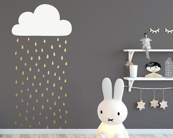 Cloud and Rain Wall Decal - 2-Color Wall Decal, Cloud Decal, Raindrop Decal, Rain Wall Decal, Vinyl Wall Decal, Nursery Decals