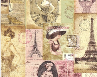 Set of 4 napkins Vintage Madame a Paris,for decoupage, decoupage under glass, mixed media, scrapbooking and other art and crafts