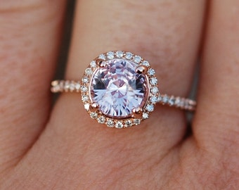 Rose gold engagement ring Color change sapphire diamond ring 14k rose gold round sapphire ring by Eidelprecious