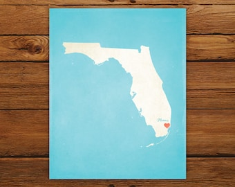 Customized Florida State Art Print, State Map, Heart, Silhouette, Aged-Look Personalized Print