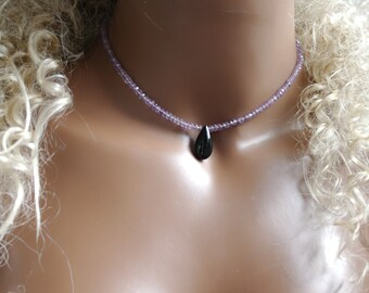Amethyst Gemstone necklace with black onyx pendant amethyst gemstone necklace with Black onyx pendant