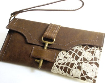 Leather and Lace Boho Wristlet with Antique Key & Crochet Doily - Timber Brown Credit Card Holder Checkbook Wallet