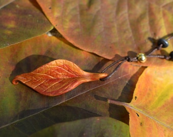Handmade Red and Gold Clay Leaf Pendant Necklace