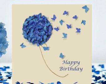 Butterfly Happy Birthday Card, Flower Birthday Card, Hydrangea Birthday Card, Mum Butterfly  Card, Nan Birthday Card, Friend Card