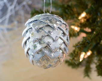 Sparkly Silver Christmas Ornament Glittering ribbon ball with polka dots Gift for office holiday party gift Handmade Holiday Decoration