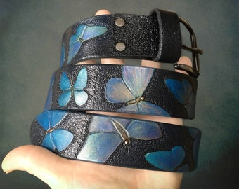 Hand tooled women's leather belt with iridescent blue butterflies - Catch your rainbow! - Artisan belt for stylish ladies - Gift for ages