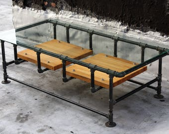 Industrial Iron Pipe Coffee Table w. Glass Top and Reclaimed Wood Shelves