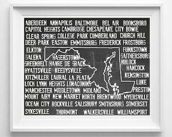 Maryland State print, printable wall art, custom state print