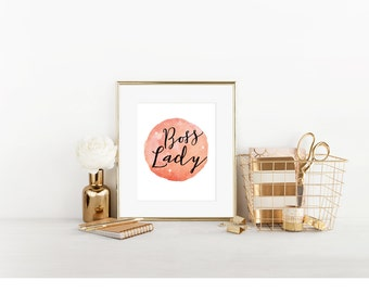 Boss Lady, Digital Print, Cubicle Decor, Cubicle Wall Decor, Cubicle Accessory, Office Decor