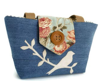 SALE - Denim Wayfarer Purse - Bird on a Branch Purse - Floral - Spring - Handmade Applique - Vegan