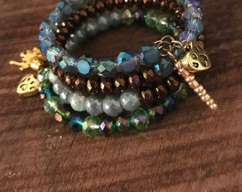 Dog Lover Blue Green Copper and Silvery Luster Glass Beaded Wrap Bracelet with Dog Charms