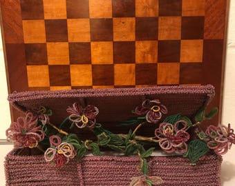 Rare Vintage French Beaded Flower Arrangement in Beaded Box