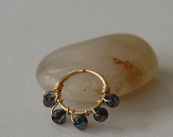 Cartilage Hoop - Tiny / 14k Gold Fill Wire Wrapped with Natural Labrodite Gemstones