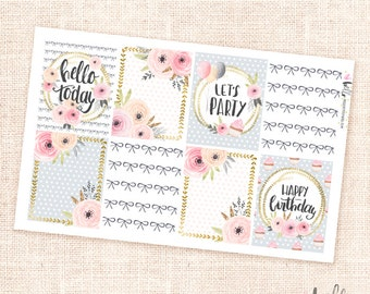 Celebrate - Floral quote planner stickers - 8 full boxes for the Erin Condren, Happy Planner