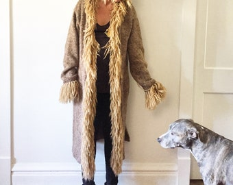 Vintage Alpaca Wool Maxi Cardigan , Faux Fur Long Cardigan , Sweater Coat