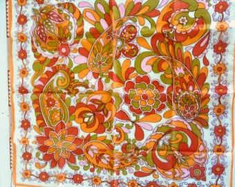 Vintage Orange Paisley Scarf