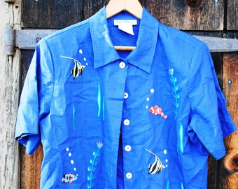 Fishes Embroidered Vintage Blouse Marine Ocean Sea Life T-Shirt