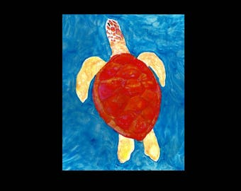 ACEO Sea Turtle Print, ACEO, ACEO Print, aceo art card, aceo painting, aceo Sea Turtle, aceo beach, aceo ocean, artist trading card, print