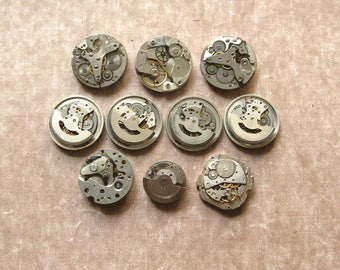 Assorted Watch Movements, Small Watch Movements, Steampunk Supplies, Watch Movements For Parts, Antique Watch Parts, Old Watch Sup