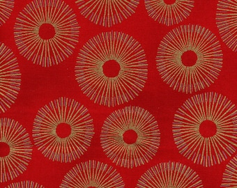 Kaufman Metallic Sparkle 15754 3 Red Circular Dots By The Yard