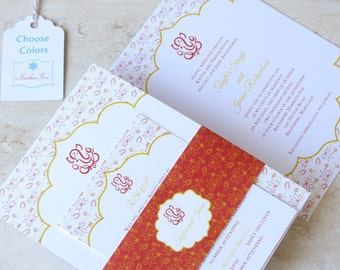 Indian Wedding Invitation - Ganesh Lotus Belly Band - Hindu Wedding - Red Gold Purple Teal Pink Coral - Choose Your Colors