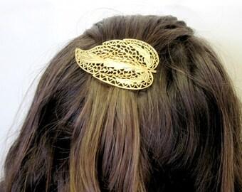 Gold Barrette , Gold Leaf Barrette , French Barrette , Leaf Hair Clip , Prom Accessories , Gold Headpiece , Gold Hair Piece , Wedding Hair
