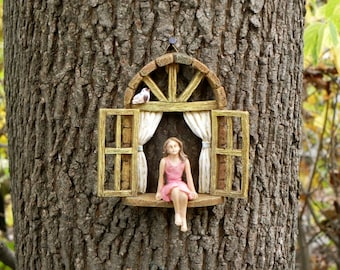 Miniature garden GIRL no wings - mini garden accessory - Girl sitting in miniature window, accessory for fairy garden