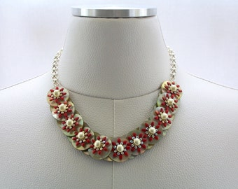 Red and White Necklace, Mother of Pearl Button Necklace, Floral Necklace, Fashion Necklace, Swarovski Crystal Jewelry, Silver Jewelry