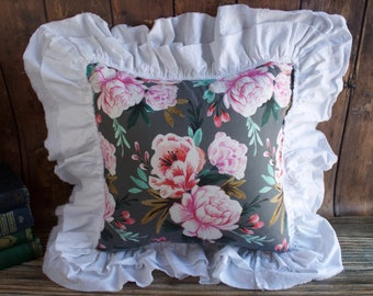 Pink Floral Ruffle Pillow.  Pink Flower Pillow. Grey Flower Pillow. French Country Decor. Cottage Decor. Throw Pillow. Mothers Day Gift