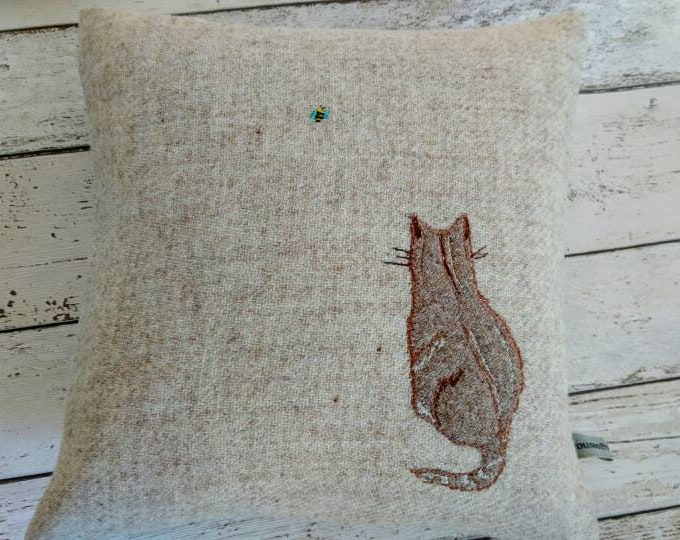 Hand Crafted Harris Tweed little cat and a bee cushion cover