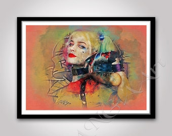 Harley Quinn print poster Instant Download home decor wall art Watercolor Friend Brother Sister Girl Best friend Nephew Gift idea