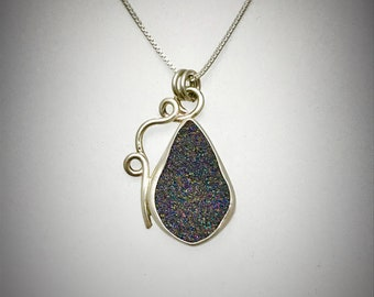 Sterling Silver and Purple and Gray Druzy Swirl Necklace