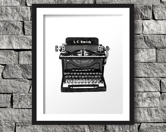 Vintage Typewriter Art Print, Instant Download, Digital Art Print, Wall Decor, Modern Wall Art Illustration