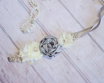 Maternity Sash / Belt, Bridal Sash/Belt, Gray Ivory Sash / Belt,Flower Girl Sash / Belt, Bridesmaid Sash/Belt, Maternity belt / Sash