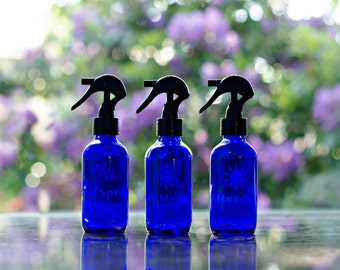 Summer set of 3 Etched GLASS 4oz spray bottles. Bug Spray, Sunscreen, After Sun- Etched Glass labeling for essential oil blends and recipes.