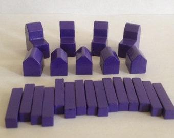 Settlers of Catan Custom Color Game Piece Set - Purple