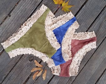 3pk Tanga Lovely Lacey hemp/organic cotton undies LOWRISE