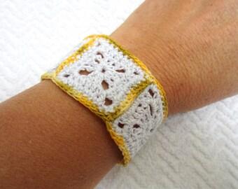 Granny square crochet Cuff Bracelet