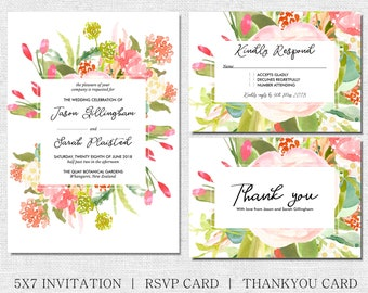 Spring Floral invitation, with matching rsvp and thank you cards, wedding or any occasion, bright spring flowers in pink and green bouquet
