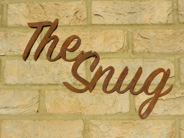 The Snug Rusty Metal Room Sign / The Snug sign / Industrial